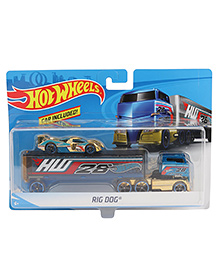 Hot Wheels Rig Dog With Racing Car - Blue
