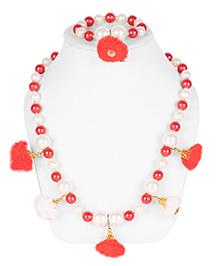 Daizy Pom Pom Necklace & Bracelet Set - Red & White