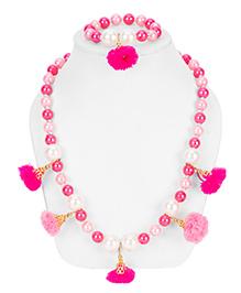 Daizy Pom Pom Necklace & Bracelet Set - White & Pink