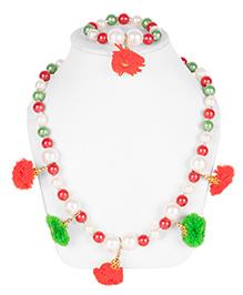Daizy Pom Pom Necklace & Bracelet Set - Red & Green