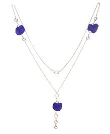 Daizy Necklace Pom Pom & Pearls - Blue & White