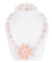 Daizy Star Necklace & Bracelet Set - White & Light Pink