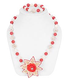 Daizy Star Necklace & Bracelet Set - Red & White