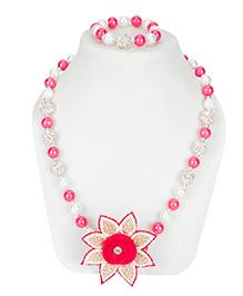 Daizy Star Necklace & Bracelet Set - Pink & White