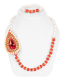 Daizy Ethnic Necklace & Bracelet Set - Red & White