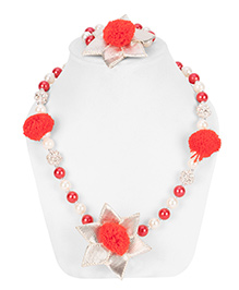 Daizy Gota Pearl Necklace & Bracelet Set - Red