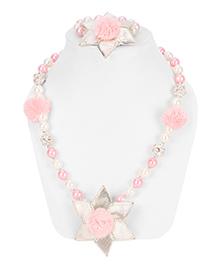 Daizy Gota Pearl Necklace & Bracelet Set - Pink