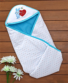 Baby Hooded Wrapper Bunny Patch - Blue