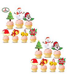 Party Propz Christmas Cupcake Topper Multicolor - Pack Of 14