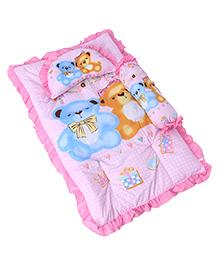 3 Piece Baby Bedding Set Teddy Bear Print - Pink