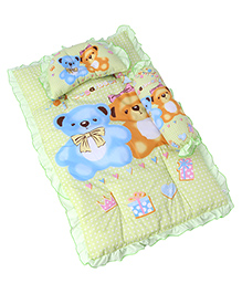 3 Piece Baby Bedding Set Teddy Bear Print - Green