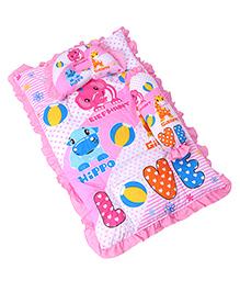 3 Piece Baby Bedding Set Elephant & Hippo  Print - Pink