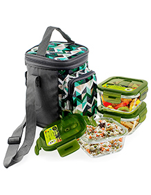 Home Puff Borosilicate Glass Lunch Box With Carry Bag Set Of 3 Green - 320 Ml
