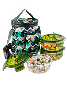 Home Puff Borosilicate Glass Lunch Box With Carry Bag Set Of 3 Green - 400 Ml