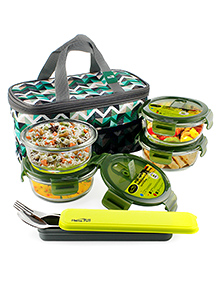 Home Puff Borosilicate Glass Lunch Box With Carry Bag Set Of 4 Green - 400 Ml