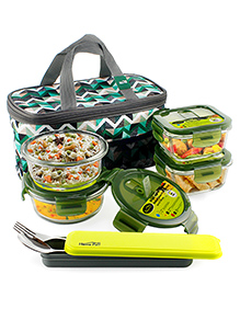 Home Puff Borosilicate Glass Lunch Box With Carry Bag Set Of 4 Green - 320 & 400 Ml
