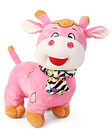 My Baby Excels Cow Plush Soft Toy With Printed Scarf Light Pink - Height 25 Cm