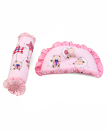 Pillow And Bolster Set Teddy Bear Print - Pink