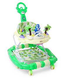 Musical Baby Walker With Parental Push Handle - Green