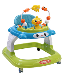 Musical Baby Walker With Toy Tray - Green Blue