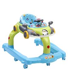 Car Design Musical Baby Walker - Blue & Green