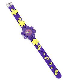 Analog Wrist Watch Floral Motif - Purple