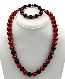 Magic Needles Pearl Necklace & Bracelet Set - Maroon - 2413073
