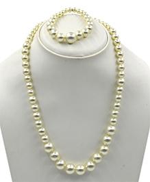 Magic Needles Pearl Work Necklace & Bracelet Set - Cream
