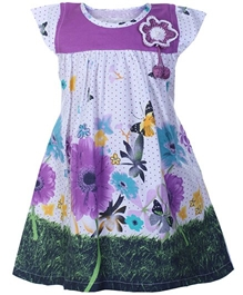 Baby Hug - Short Sleeves Floral Print Dress
