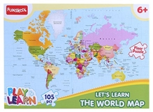 Funskool - Set Of 105 Pieces World Map Puzzles