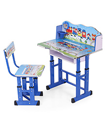 Study Table With Chair Train Print - Blue