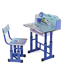Kids Study Table With Chair Fish Print -  Blue