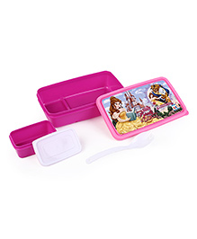 Disney Princess Lunch Box With Container & Fork Spoon - Magenta