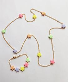 Lime By Manika Stars Necklace & Bracelet Set -  Pink & Orange