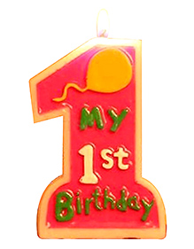 Party Propz 1St Birthday Candle - Red