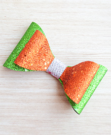 Pretty Ponytails Bow Design Glitter Finish Hair Clip - Orange