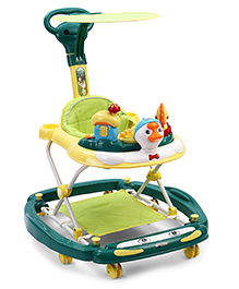 Musical Baby Walker With Push Handle Duck Design - Yellow Green