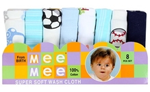 Mee Mee - Pack of 8 Multicolored Baby Napkin
