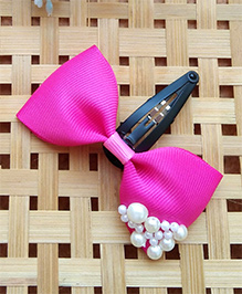 Keira'S Pretties Pearl Embellished Bows Clip - Magenta Pink