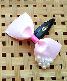 Keira'S Pretties Pearl Embellished Bows Clip - Light Pink