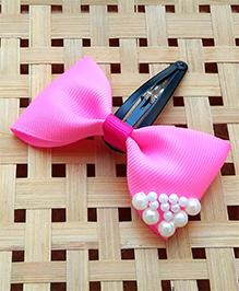 Keira'S Pretties Pearl Embellished Bows Clip - Dark Pink