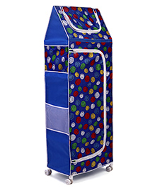 Luvely 5 Shelves Almirah With Wheels Emoticon Print - Blue