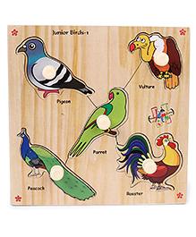 Kinder Creative Wooden Junior Birds With Knobs Puzzle - Multicolor