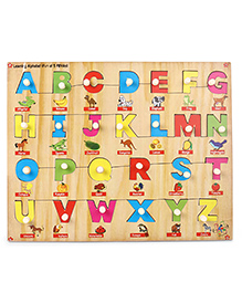 Kinder Creative Wooden Learning Alphabet With Knob Puzzle - Multicolor