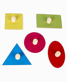 Kinder Creative Wooden Junior Shapes With Knobs Puzzle - Multicolor
