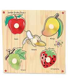 Kinder Creative Wooden Junior Fruits With Knobs Puzzle - Multicolor