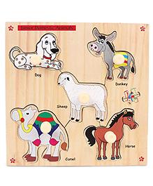 Kinder Creative Wooden Junior Domestic Animals With Knobs Puzzle - Multicolor