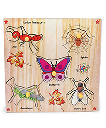 Kinder Creative Wooden Junior Insects With Knobs Puzzle - Multicolor