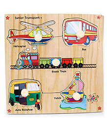 Kinder Creative Wooden Junior Vehicles With Knobs Puzzle - Multicolor