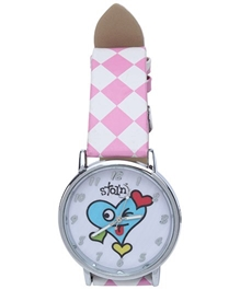 Stol'n - Pink Smiling Heart Wrist Watch